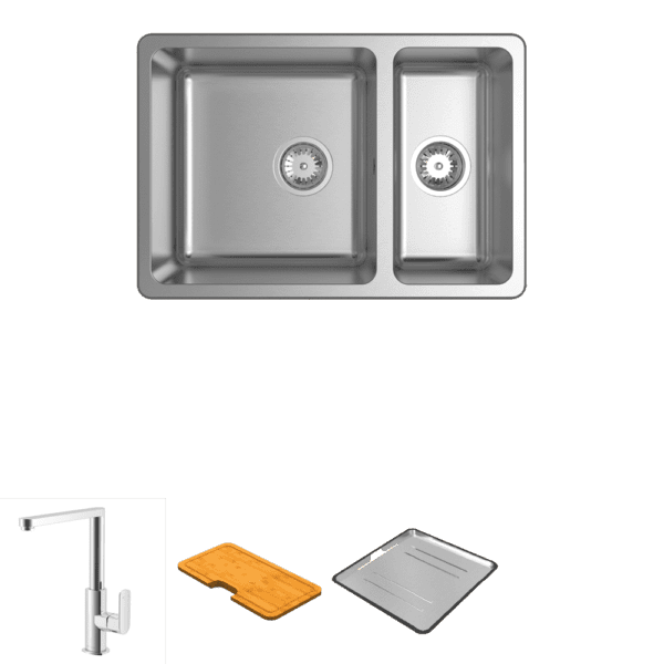 Abey abey-packages Lago 180 Square Neck Mixer Package Kitchen Sinks