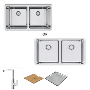 Abey abey-packages Lago 200 Package with Square Neck Mixer Kitchen Sinks