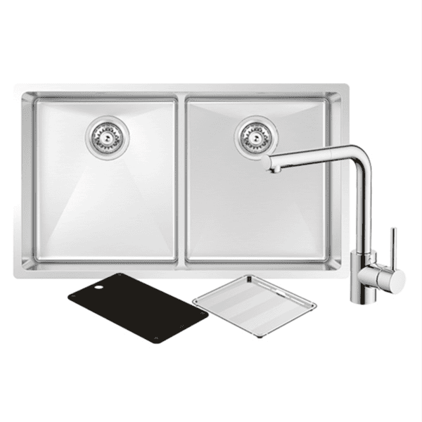 Abey abey-packages Montego Double Sink with 3K6 Kitchen Mixer Kitchen Sinks