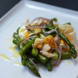 Steamed egg, asparagus and smoked trout salad