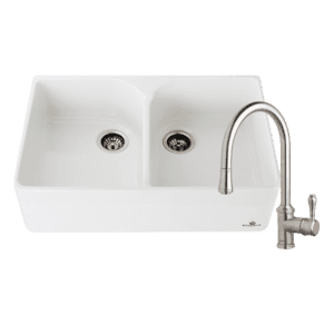 Chambord abey-packages Chambord Clotaire Double Bowl Sink & 400674 Kitchen Mixer in Brushed Nickel Kitchen Sinks