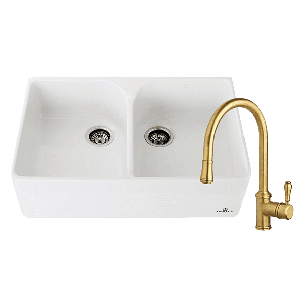 Chambord abey-packages Chambord Clotaire Double Bowl Sink & 400674 Kitchen Mixer in Bronze Kitchen Sinks