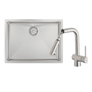 Abey abey-packages Alfresco Large Bowl Sink with Drain Tray & Laios Pull Out Kitchen Mixer Kitchen Sinks