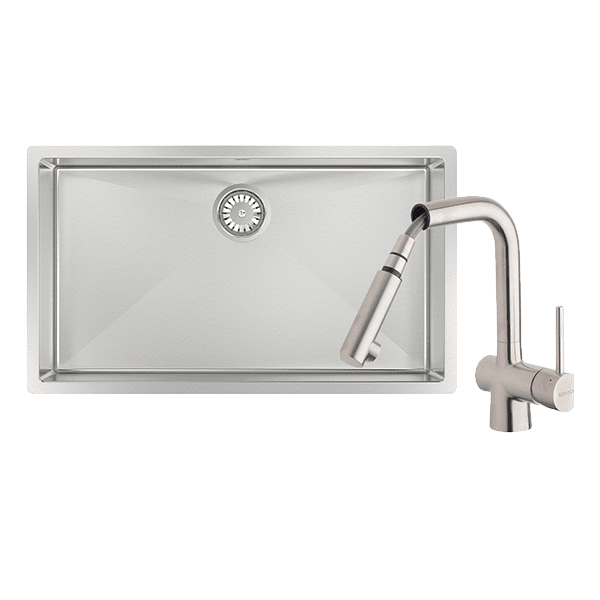 Abey abey-packages Alfresco 700 Large Bowl Sink with Drain Tray & Laios Pull Out Kitchen Mixer Kitchen Sinks