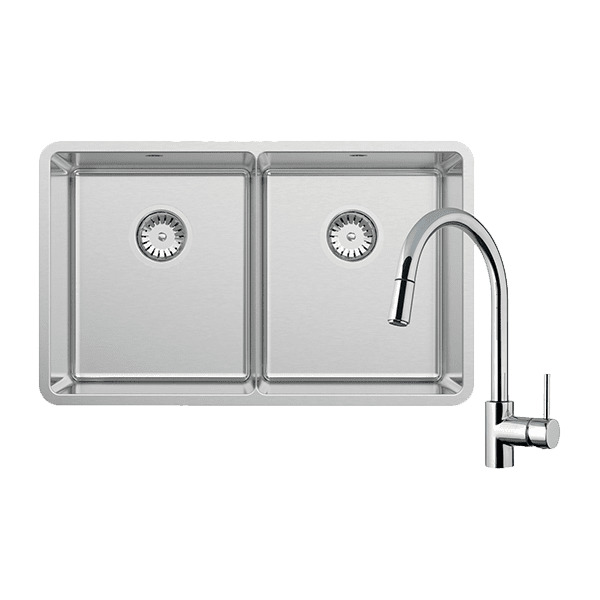 Abey abey-packages Lucia Double Bowl with SK5-AV Kitchen Mixer