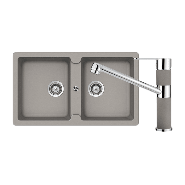Schock abey-packages Schock Typos Double Bowl & 400456C Kitchen Mixer Concrete Kitchen Sinks